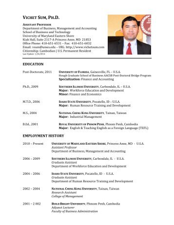 Curriculum Vitae - University of Maryland Eastern Shore