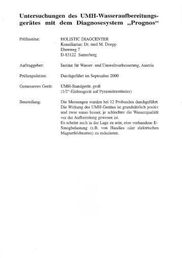 Untersuchungen mittels Prognos-System von Dr. Doepp - UMH