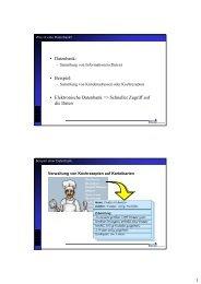 1 • Datenbank: • Beispiel: • Elektronische Datenbank => Schneller ...