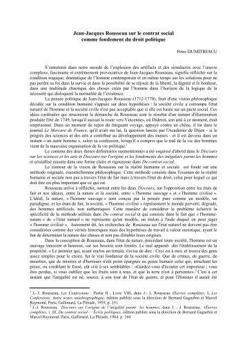Jean-Jacques Rousseau sur le contrat social comme fondement du ...