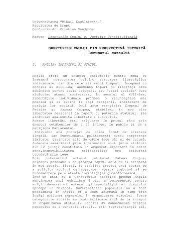 DREPTURILE OMULUI DIN PERSPECTIVĂ ISTORICĂ - Rezumatul ...