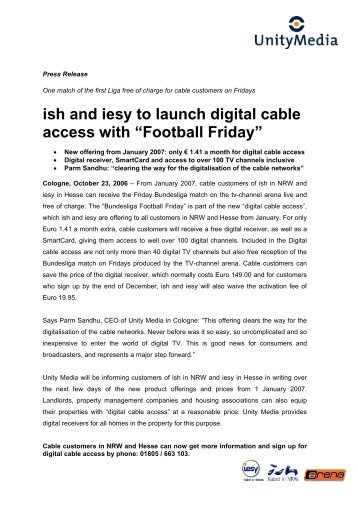 "ish and iesy to launch digital cable access with ""Football Friday"""
