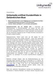 Unitymedia eröffnet Kundenfiliale in Gelsenkirchen-Buer