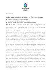 08.07.2013 - Unitymedia erweitert Angebot an TV-Programmen
