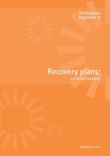 Recovery plans: - The Pensions Regulator