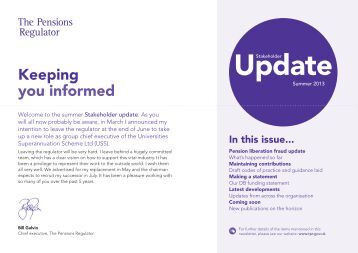 Stakeholder Update Summer 2013 - The Pensions Regulator