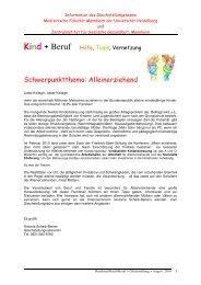 Kind Beruf Hilfe , Tipps , Vernetzung - Medizinische Fakultät ...
