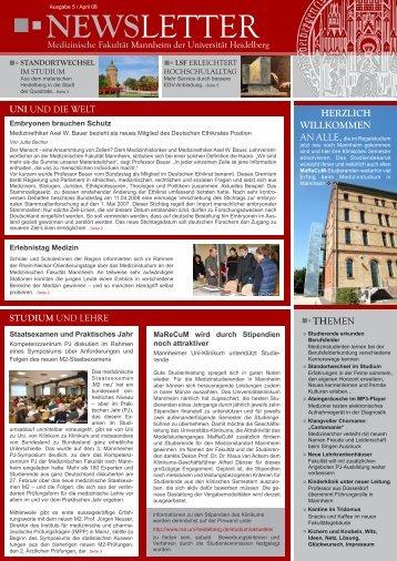 neWSLetter - Medizinische Fakultät Mannheim