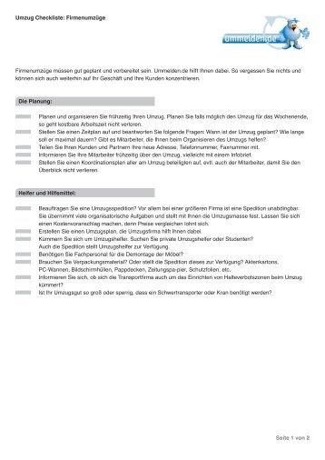 Umzug Checkliste: Firmenumzüge - Ummelden.de