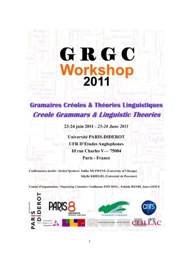GRGC Workshop Â« Creole Grammars and Linguistic Theories