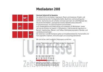 Zeitschrift für Baukultur Mediadaten 2008 - Umrisse