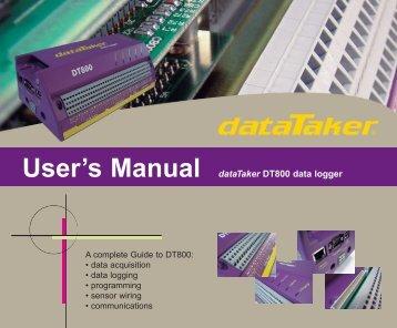 DT800 User's Manual U68A2 (V4 firmware) - dataTaker