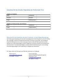 Gutachten für das Ariadne-Stipendium der Hochschule Trier