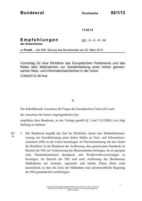 Bundesrat 92/1/13 Empfehlungen - Umwelt-online