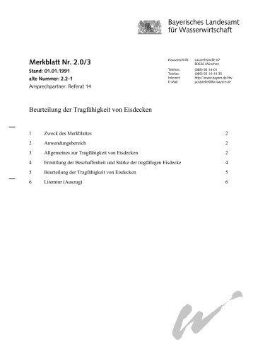 Merkblatt zur Beurteilung der Tragfähigkeit von Eisdecken