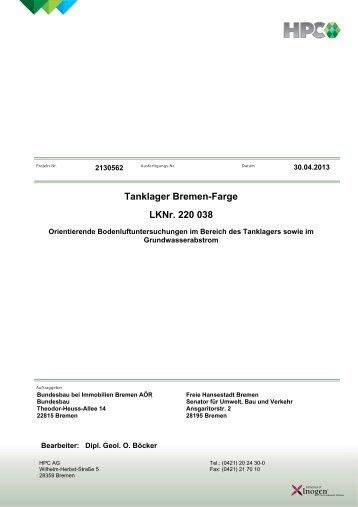 Orientierende Bodenluftuntersuchungen - Bremen