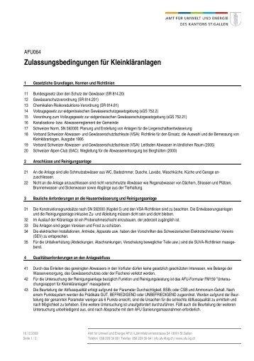 AFU064 Zulassungsbedingungen für Kleinkläranlagen (Merkblatt)