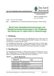 Bericht über Staubdepositionsmessungen und ...