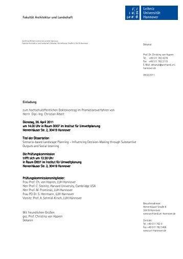 Fakultät Architektur und Landschaft Einladung zum ...