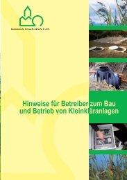 Hinweise für Betreiber zum Bau und Betrieb von Kleinkläranlagen
