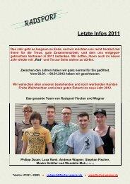 Letzte Infos 2011 - Radsport Fischer & Wagner