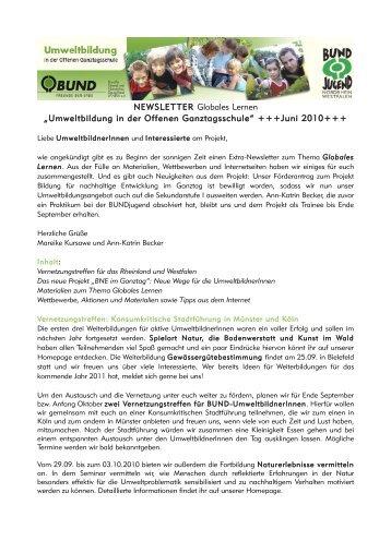 """NEWSLETTER Globales Lernen """"Umweltbildung in der Offenen ..."""