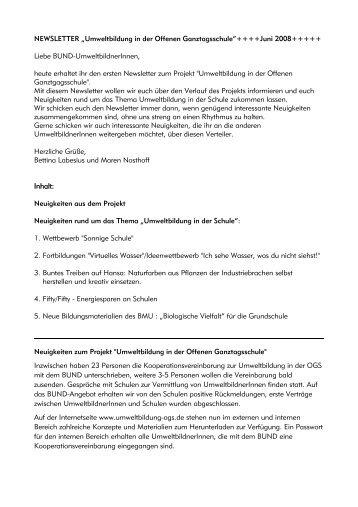 """NEWSLETTER """"Umweltbildung in der Offenen Ganztagsschule""""+++ ..."""