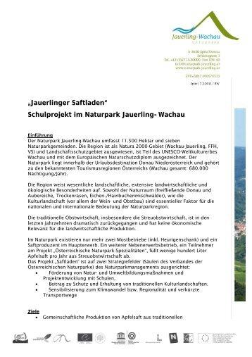 """Jauerlinger Saftladen"" Schulprojekt im Naturpark Jauerling-Wachau"