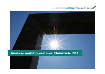 Analyse ambitionierterer Klimaziele 2020 - Umweltbundesamt