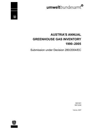 AUSTRIA'S ANNUAL GREENHOUSE GAS INVENTORY 1990–2005