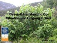 Situation und Umgang in Tirol (Konrad Pagitz, Univ. Innsbruck )