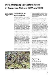 Die Entsorgung von Abfallhölzern in Schleswig-Holstein 1997 und ...