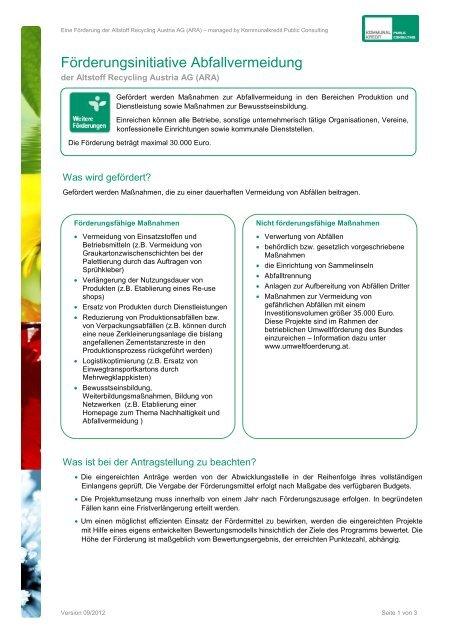 Infoblatt der ARA - Kommunalkredit Public Consulting
