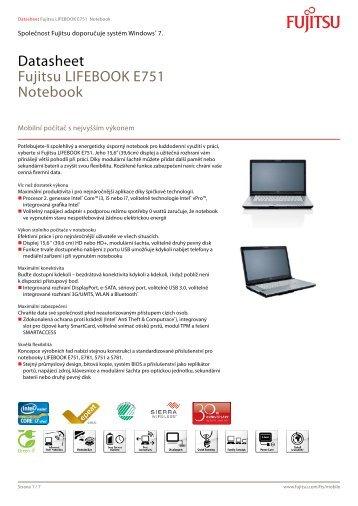 Datasheet Fujitsu LIFEBOOK E751 Notebook