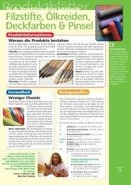 Filzstifte, Ölkreiden, Deckfarben & Pinsel