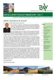 ABFALLWIRTSCHAFTSBERICHT 2011 - Umweltprofis