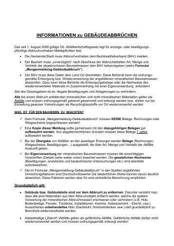 INFORMATIONEN zu GEBÄUDEABBRÜCHEN - Umweltprofis