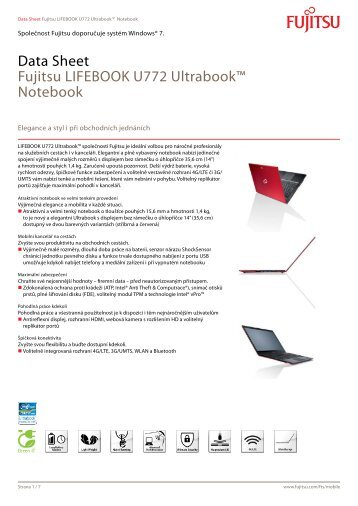 Data Sheet Fujitsu LIFEBOOK U772 Ultrabook™ Notebook