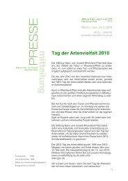 Tag der Artenvielfalt 2010 - Stiftung Natur und Umwelt Rheinland-Pfalz