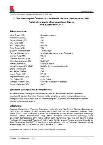 Protokoll 2. Fachauschuss - Das Österreichische Umweltzeichen