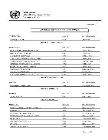 List of Registered Vendors - Organización de Naciones Unidas