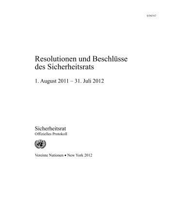 Resolutionen und Beschlüsse des Sicherheitsrats