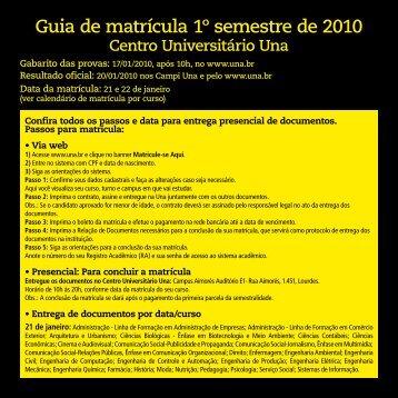 Guia de matrícula 1º semestre de 2010 - Una