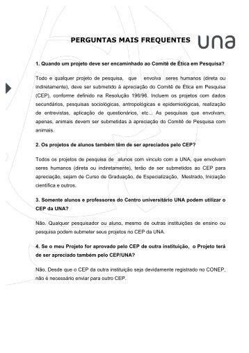 PERGUNTAS MAIS FREQUENTES - Una
