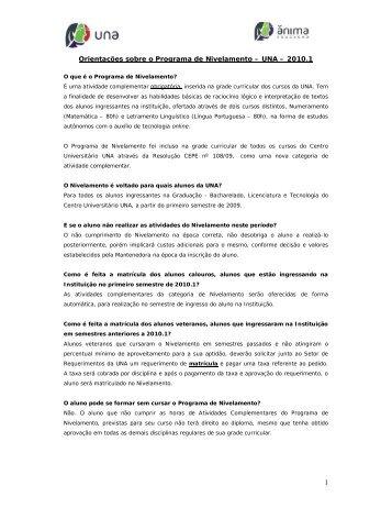 Orientações sobre o Programa de Nivelamento – UNA – 2010.1