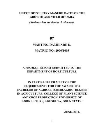 martins, damilare d. matric no: 2006/1603 - The Federal University of ...
