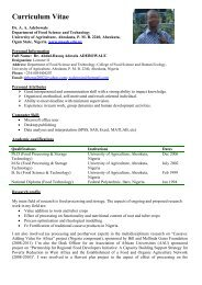 Download CV - The Federal University of Agriculture, Abeokuta