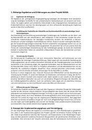 1. Bisherige Ergebnisse und Erfahrungen aus dem Projekt NASIA 2 ...