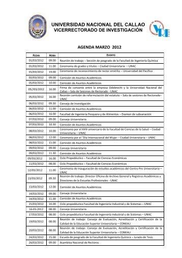 AGENDA MES DE MARZO - Universidad Nacional del Callao.