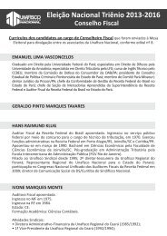 Currículo dos candidatos ao Conselho Fiscal - Unafisco